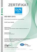 QM-Zertifikat EN ISO 9001:2015